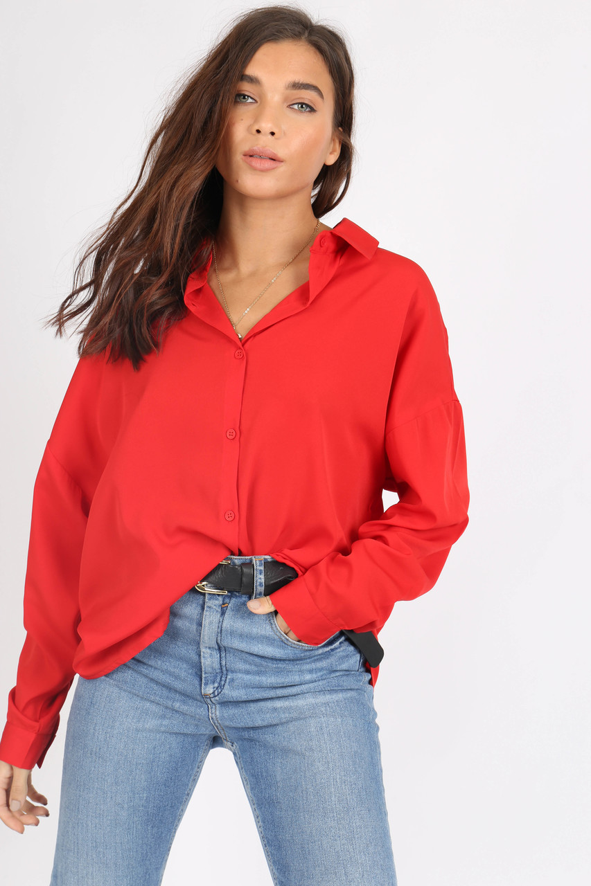 Red Oversized Shirt