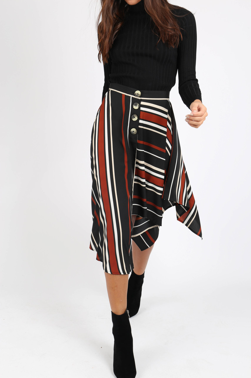 Multi Stripe Asymmetric Hem Midi Skirt