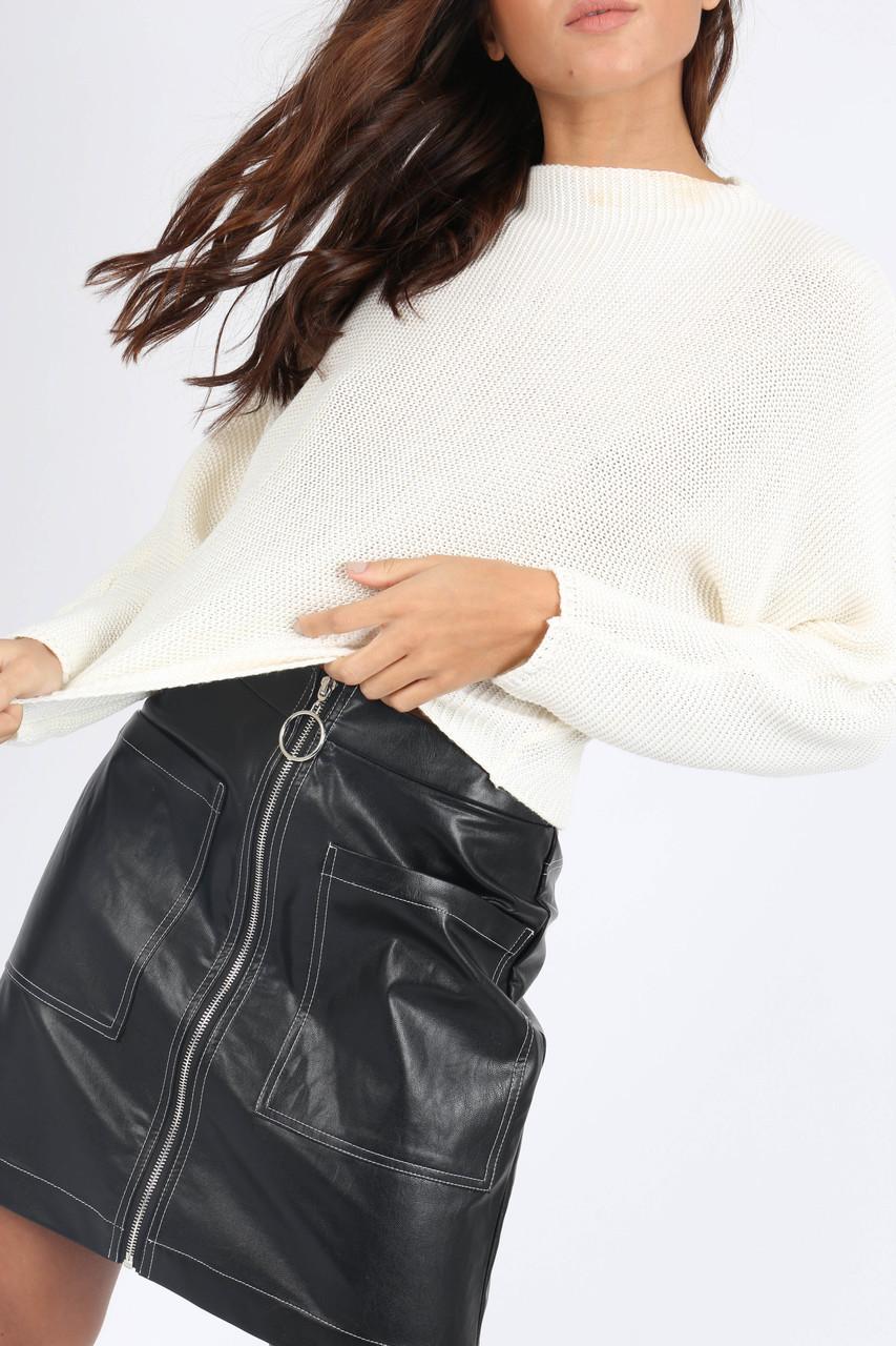 Black PU Zip Front Mini Skirt
