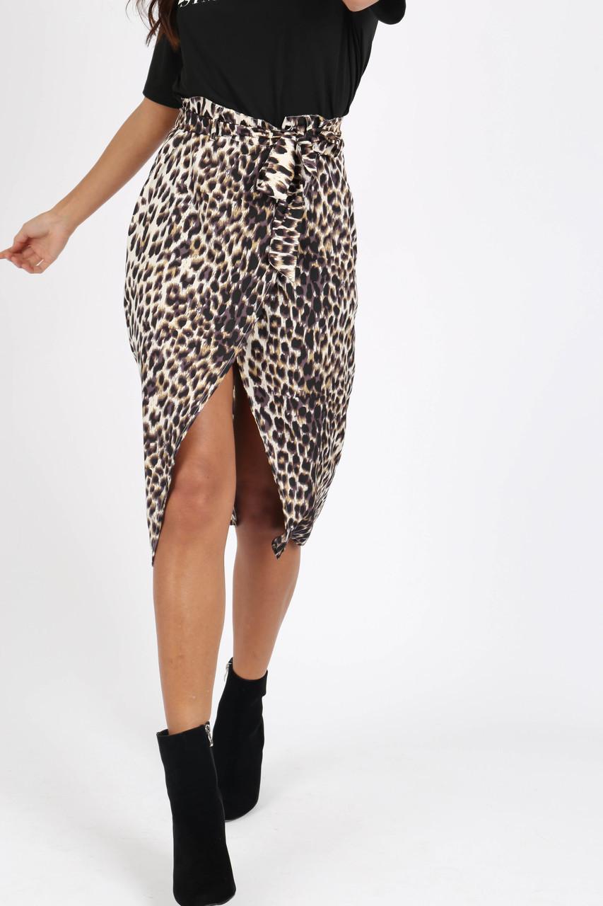 Leopard Print Self Tie Wrap Skirt