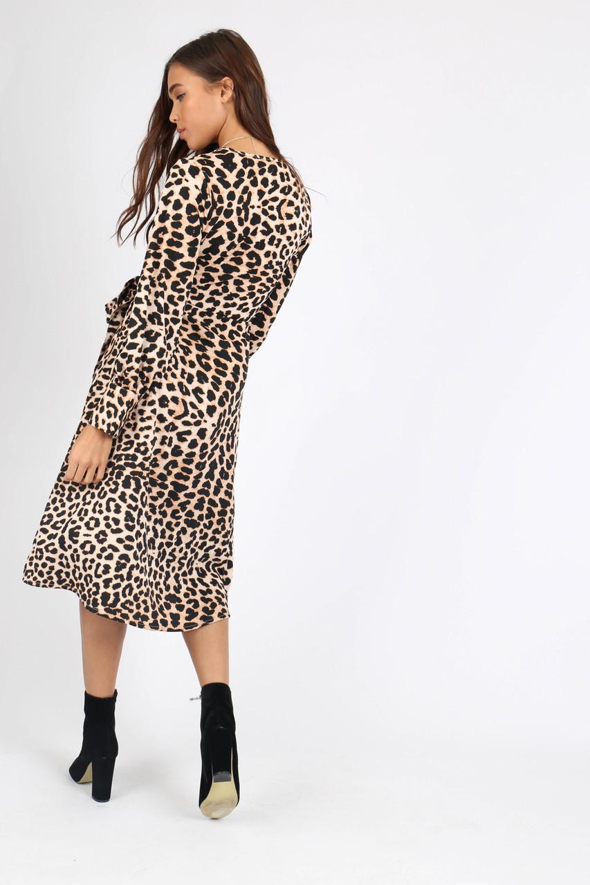 Leopard Print Side Tie Button Wrap Midi Dress