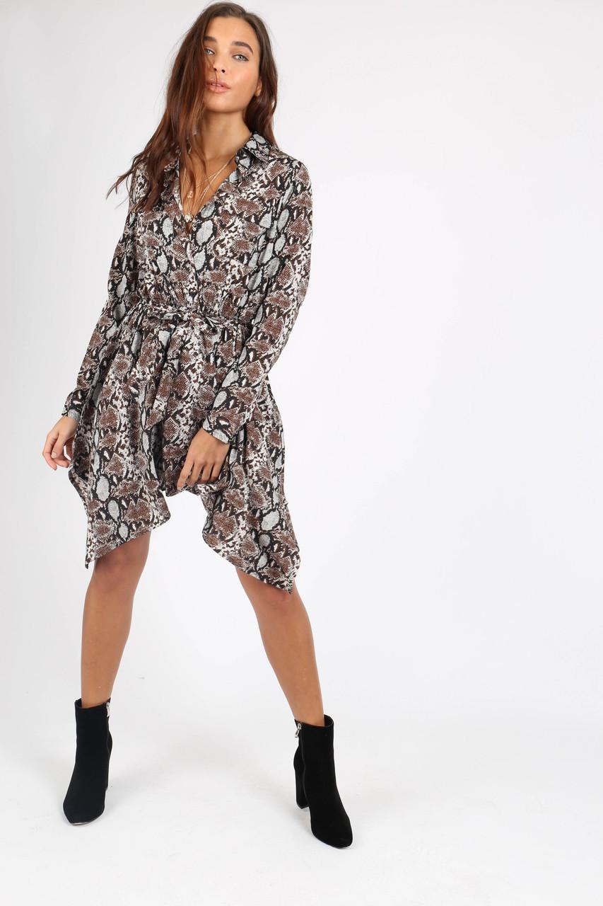 Grey Snake Print Hanky Hem Shirt Dress