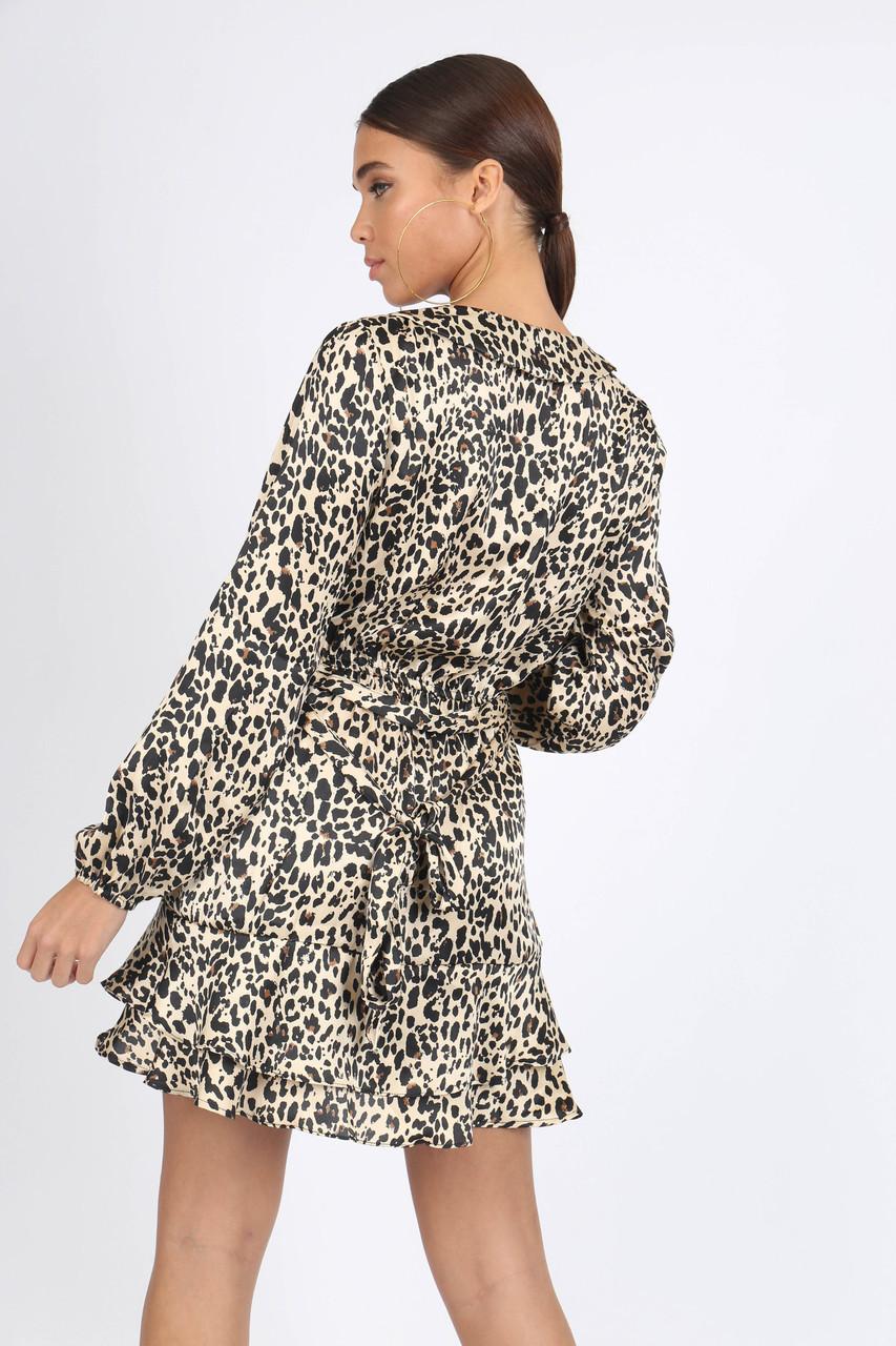 Leopard Satin Print Ruffle Wrap Mini Dress