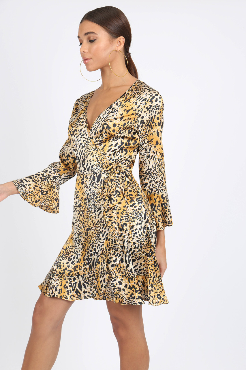 Leopard Satin Print Ruffle Hem Mini Dress