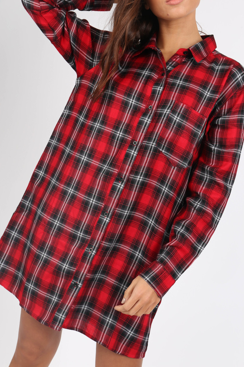 Red Check Oversized Long Sleeve Shirt Dress