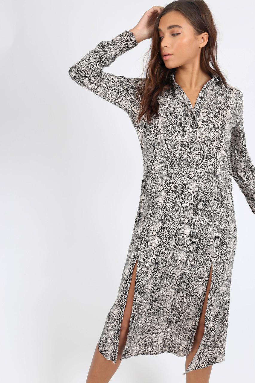 Grey Snake Print Double Split Midi Dress
