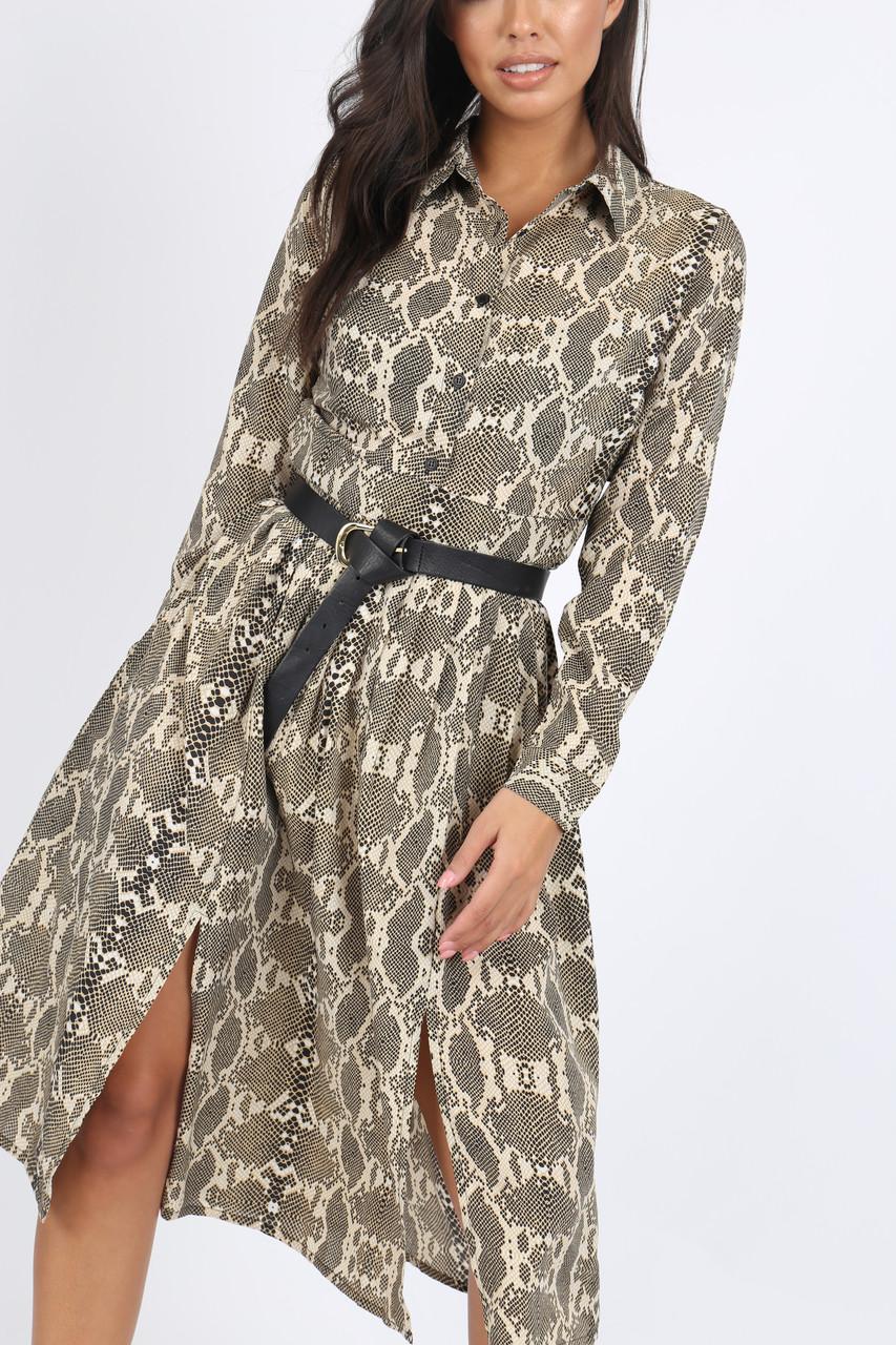 Snake Print Front Split Midi Dress