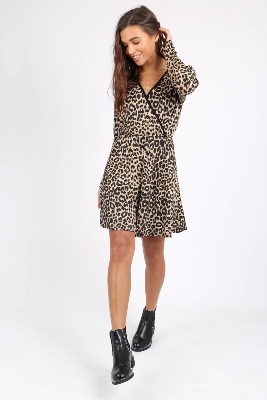 Leopard Print Long Sleeve Wrap Dress