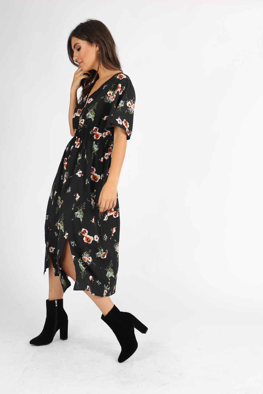 Black Floral Button Through Midi Dress