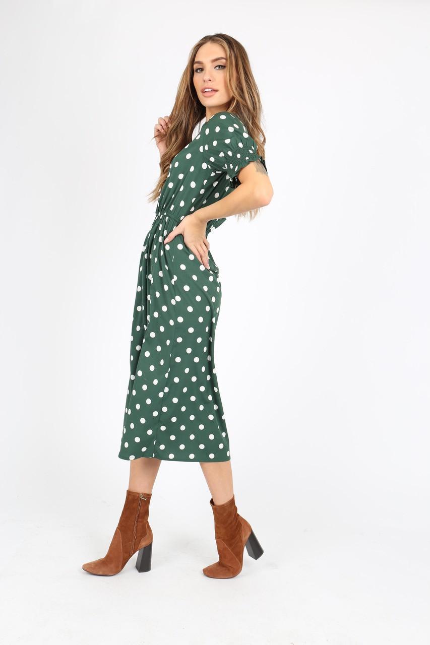 Green And White Spot Print Midi Dress