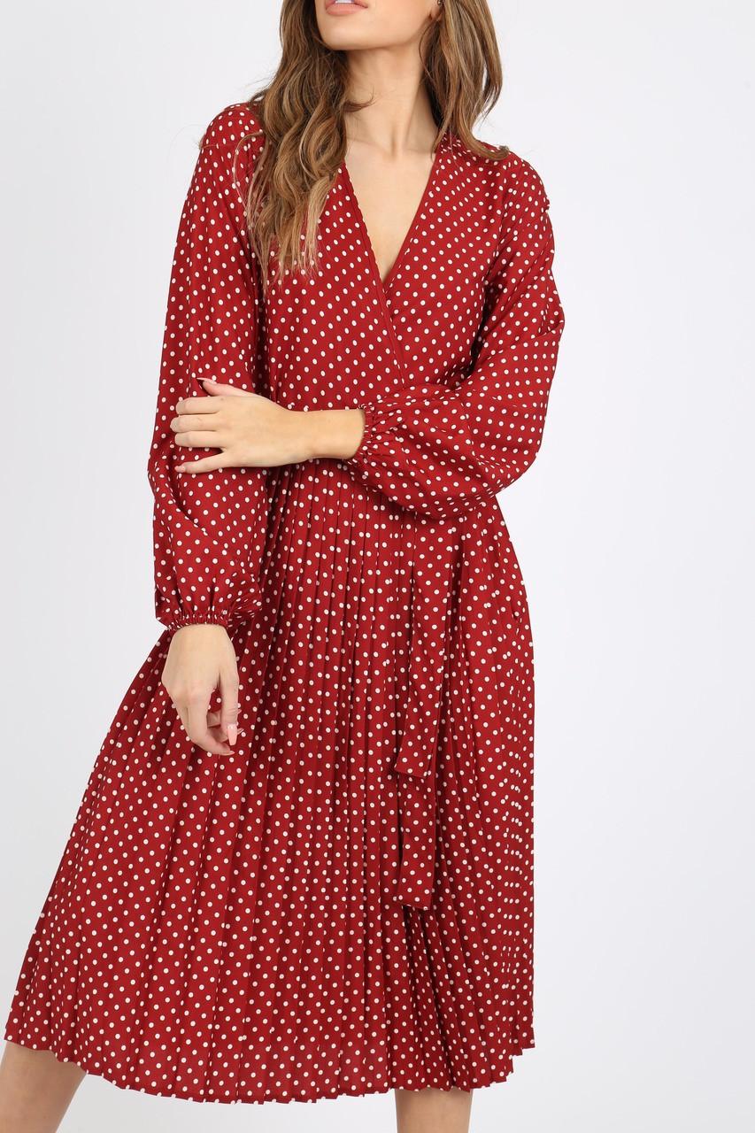 Burgundy And White Polka Dot Pleated Midi Dress