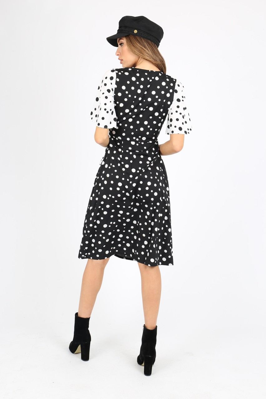 Black/White Polka Dot Mix Print Wrap Dress With Ruffle Short Sleeve