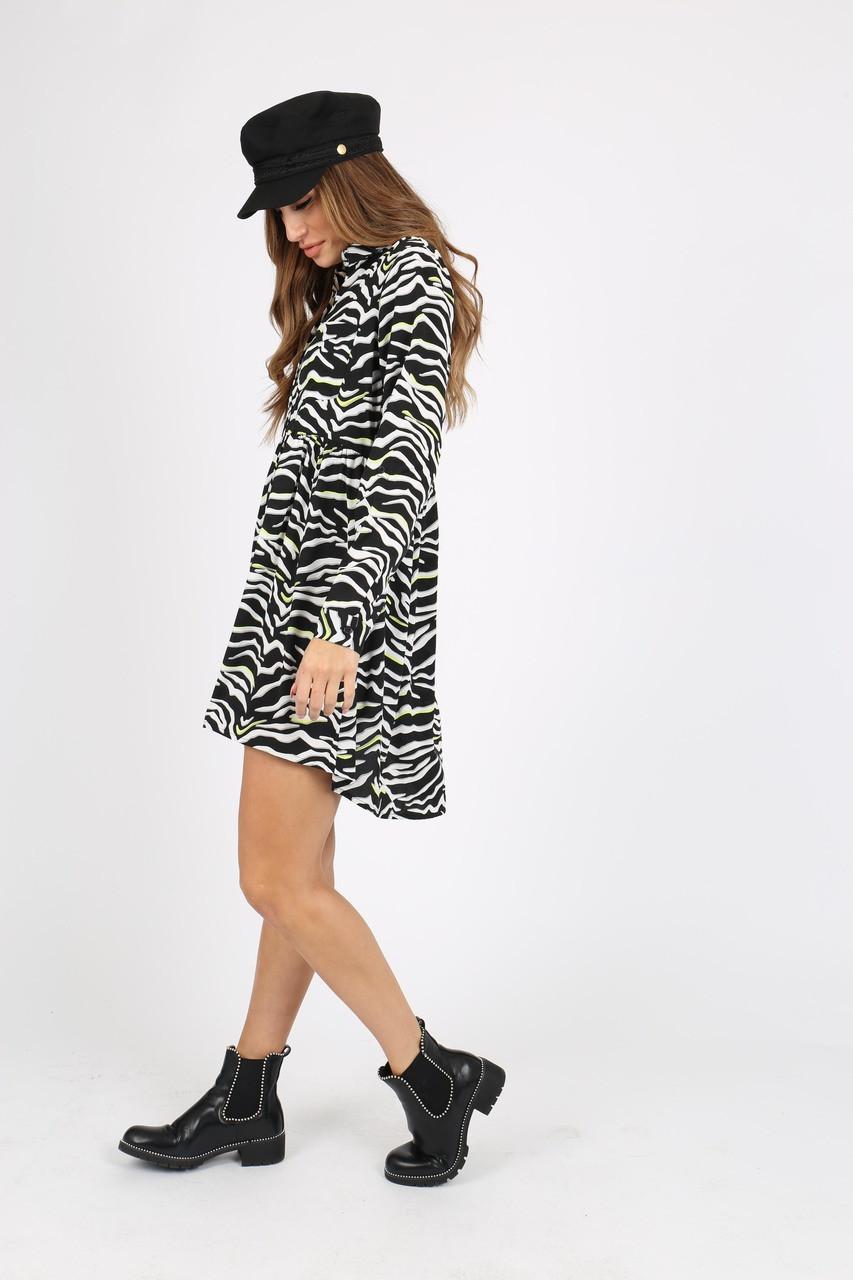 Black/ White Zebra Print With Neon Smock Shirt Dress
