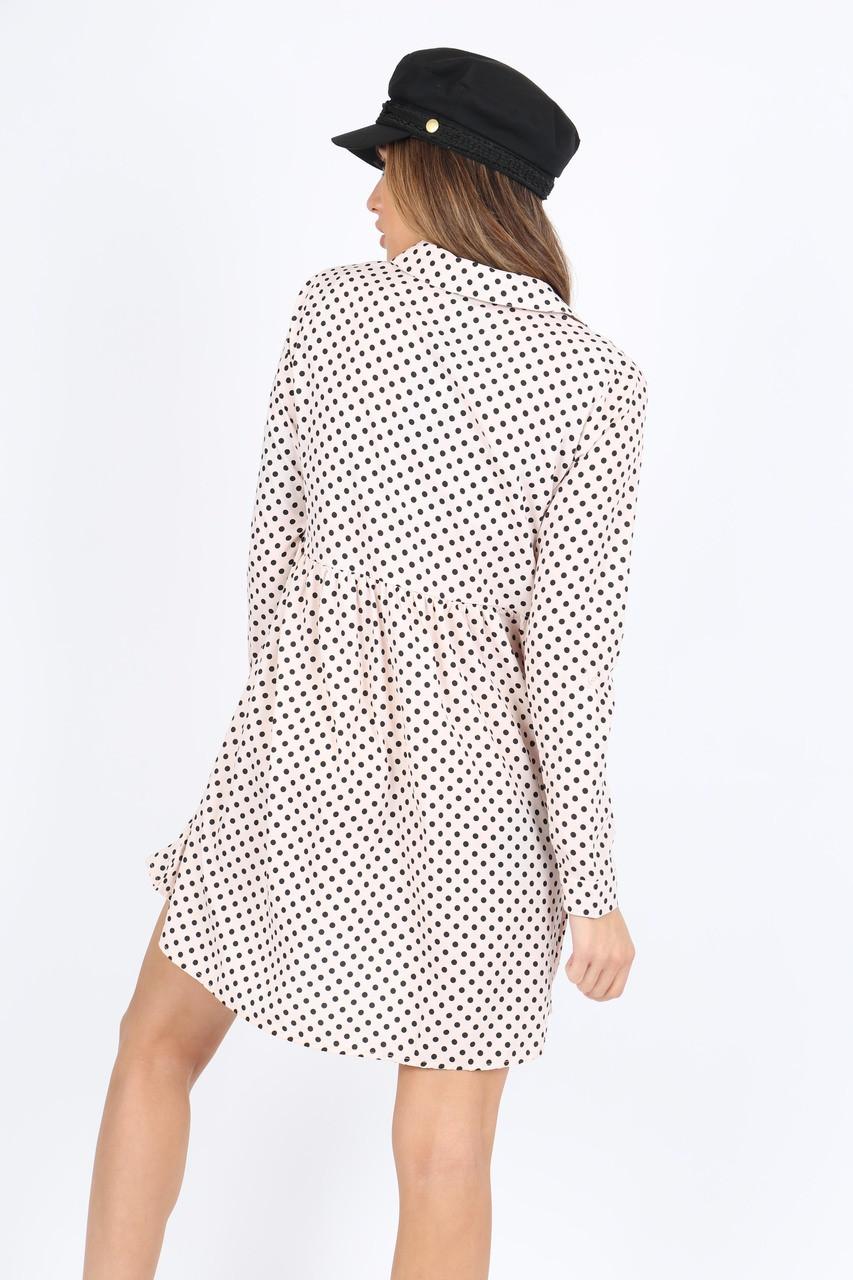 Pink/White Polka Dot Smock Shirt Dress