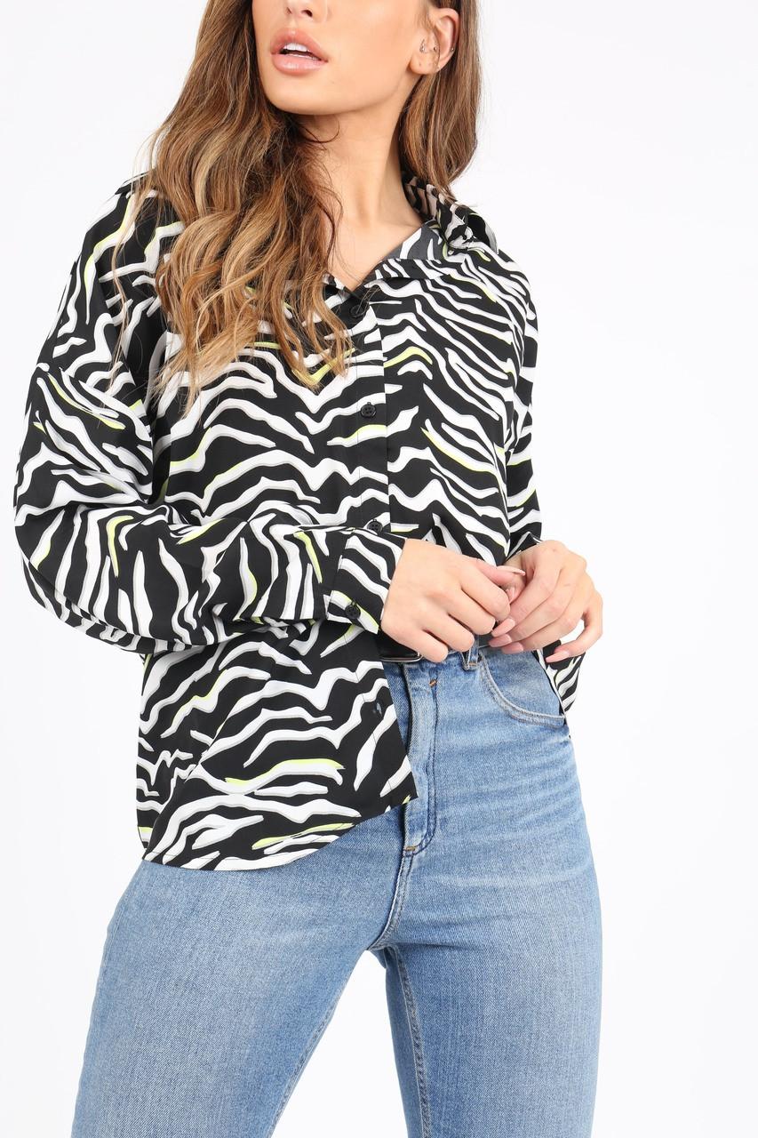 Black/White Neon Zebra Print Shirt With Long Sleeves