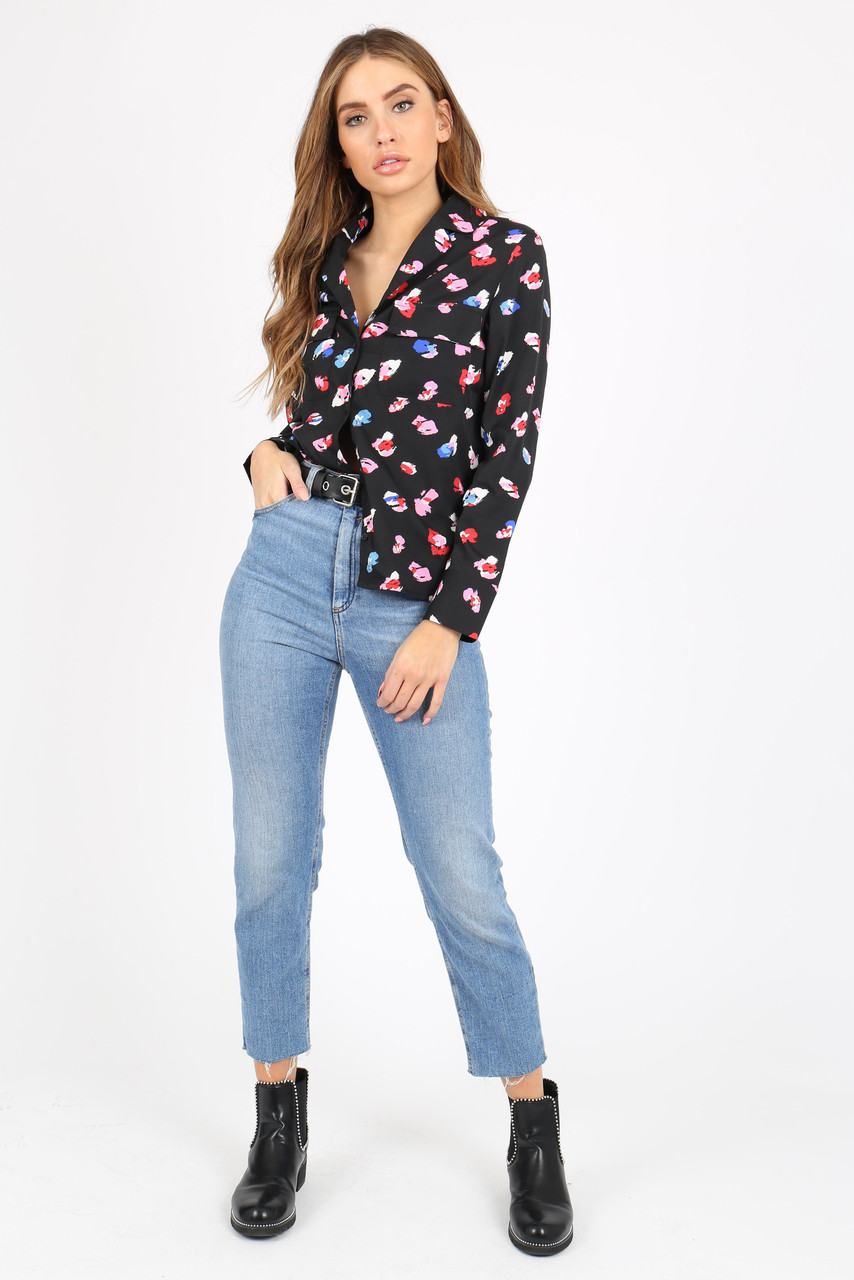 Black Animal Print Shirt With Long Sleeves And Pocket