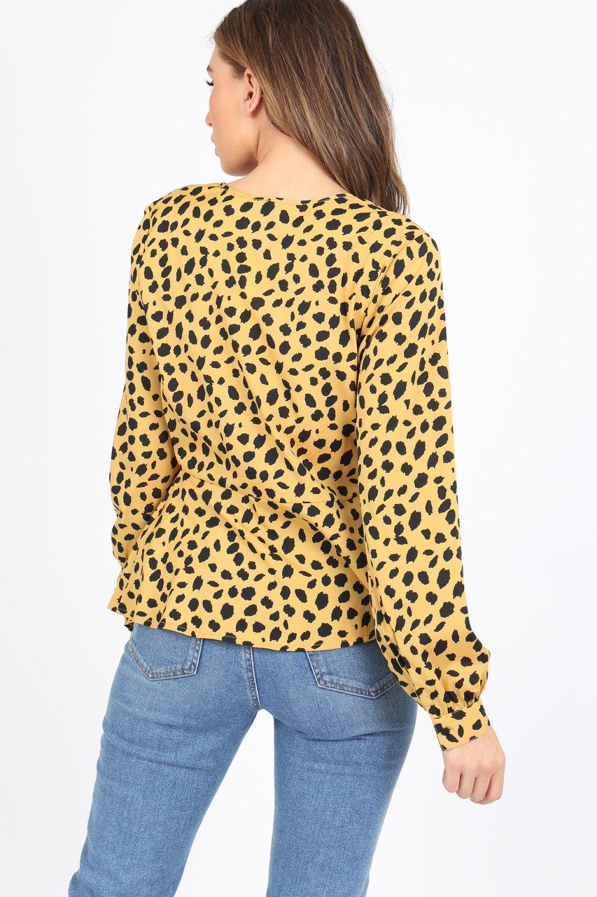 Mustard Yellow Animal Print Tea Top With Self Covered Buttons