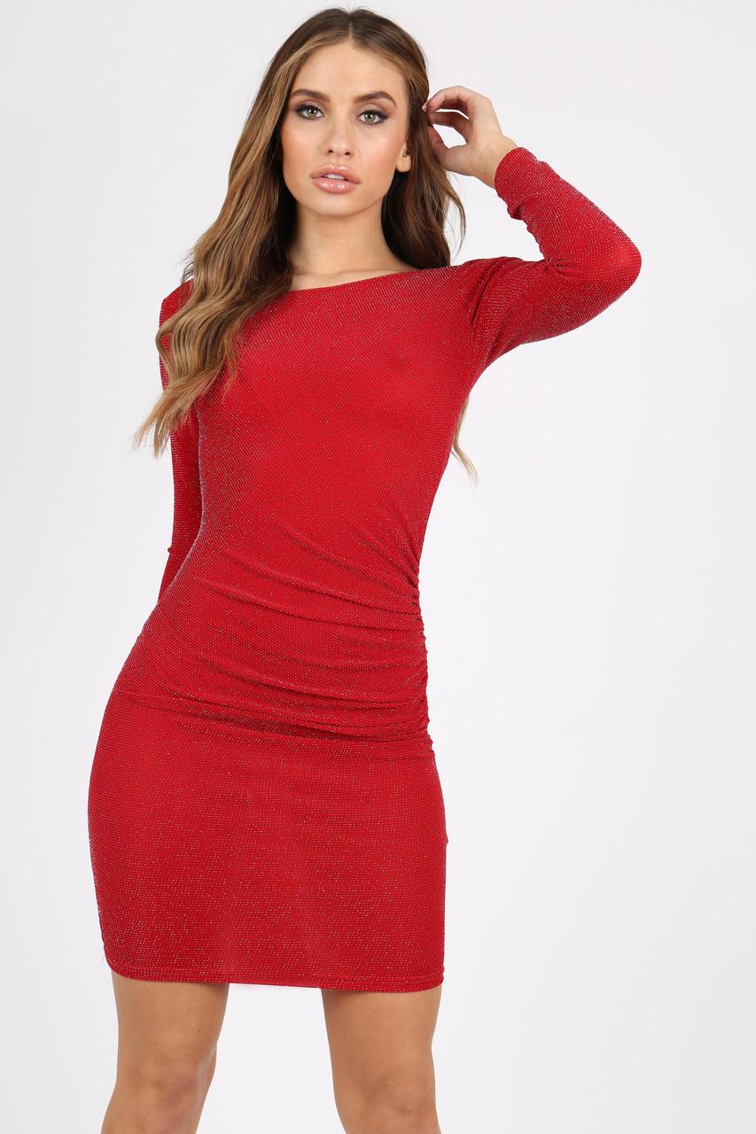 RED GLITTER BODYCON DRESS