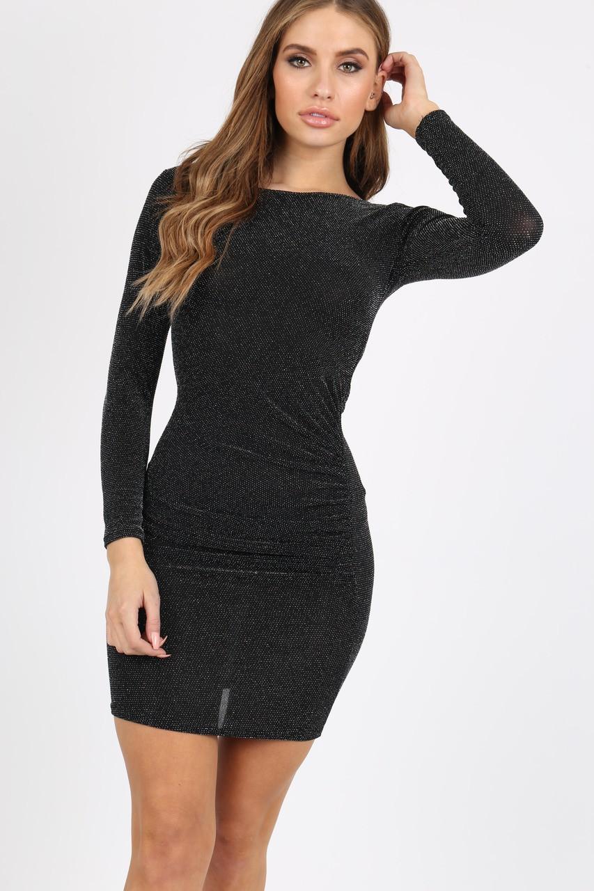 BLACK GLITTER BODYCON DRESS