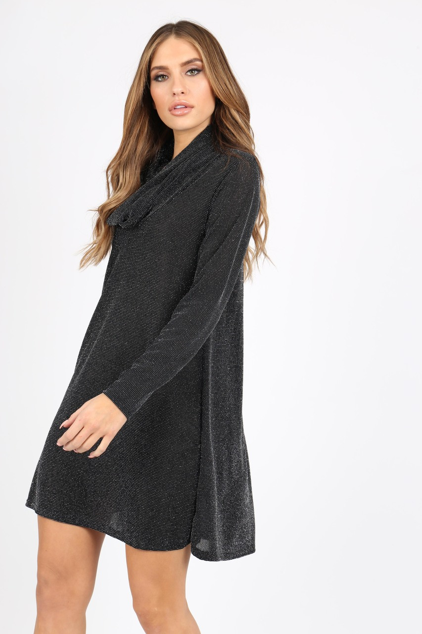 BLACK SILVER GLITTER COWL NECK LONG SLEEVE SWING DRESS