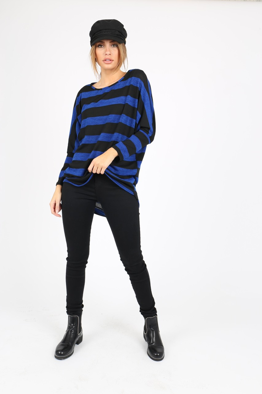 BLUE AND BLACK STRIPE BATWING JUMPER WITH DIPPED HEM AND LONG SLEEVES