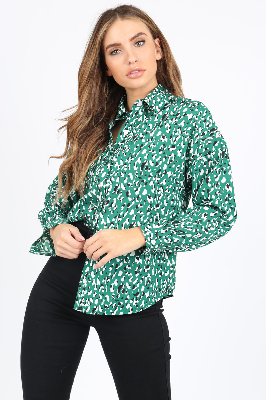 Green/Black And White Animal Print Shirt With Long Sleeves