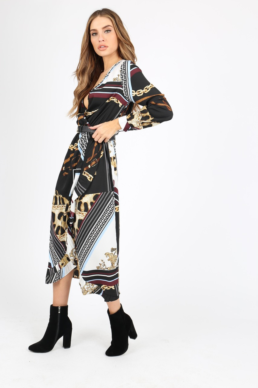 Chain And Animal Scarf Print Wrap Midi Dress With Long Sleeves