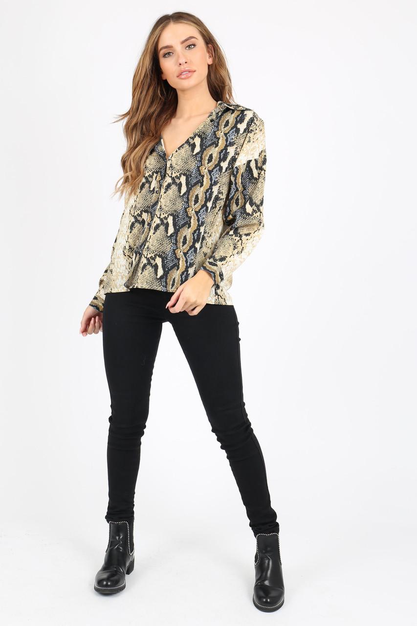 Snake Print Shirt With Long Sleeves