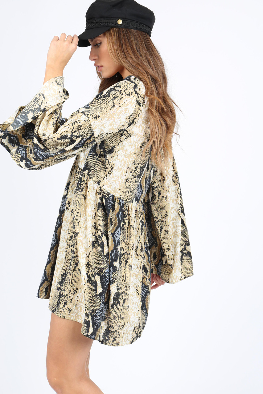 Snake Print Smock Dress With Flare Sleeves