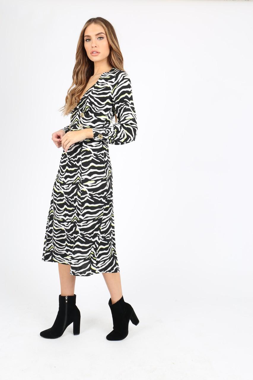 Black/White Zebra Print With Neon Pops Midi Dress With Side Splits