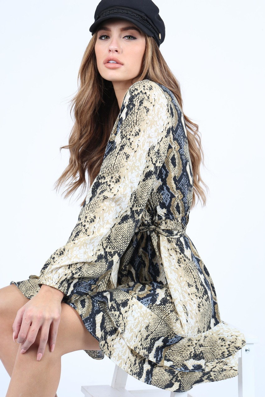 Snake Print Ruffle Wrap dress With Self Fabric Belt And Long Sleeves