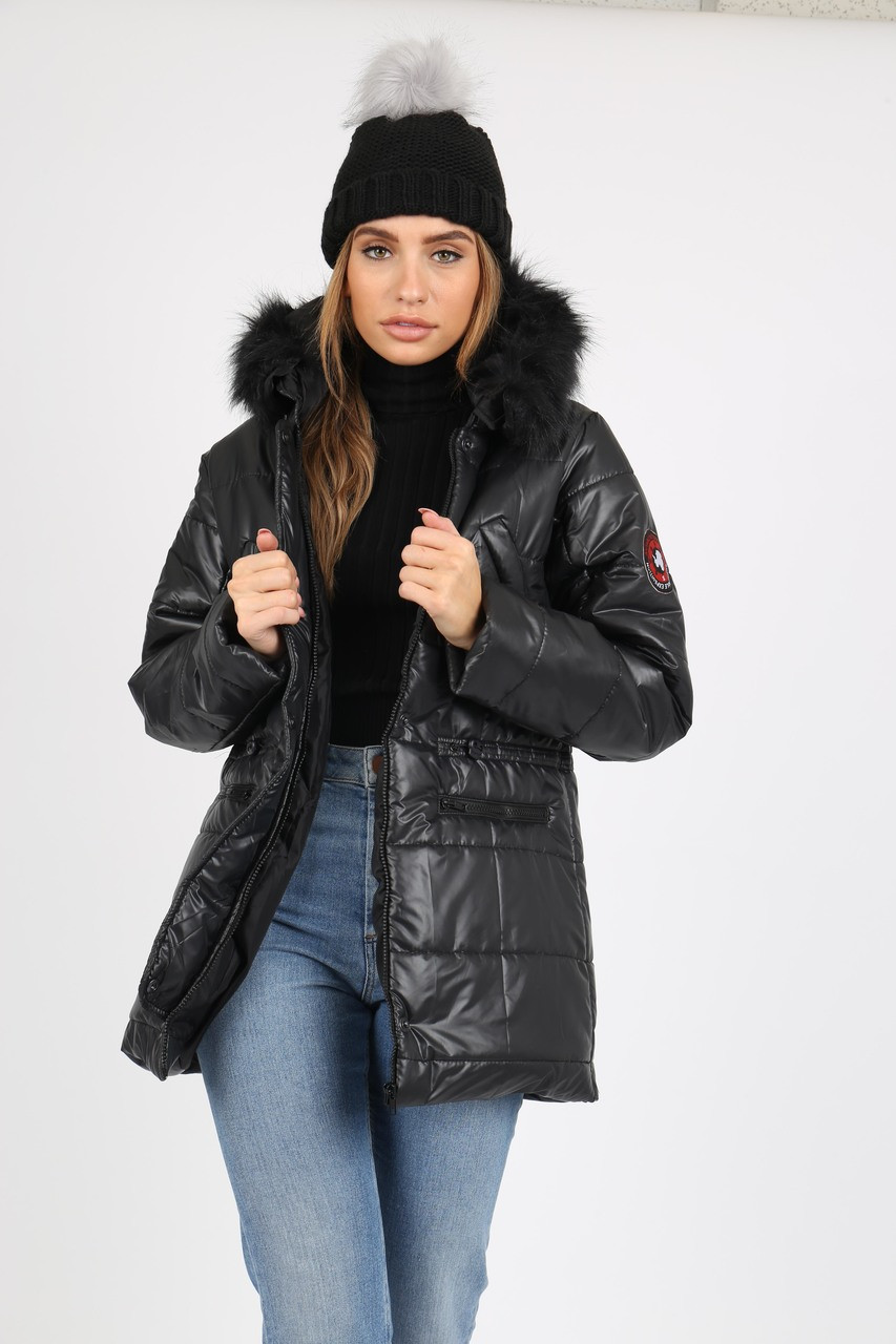 Black Puffer Coat With Faux  Fur Trim On Hood And Badges