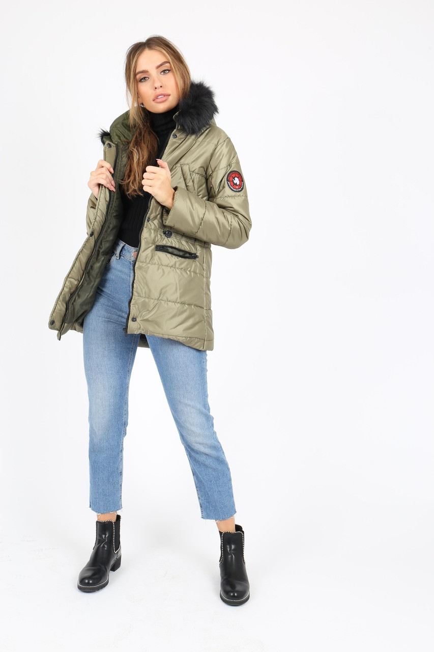 Olive Puffer Coat With Faux  Fur Trim On Hood And Badges