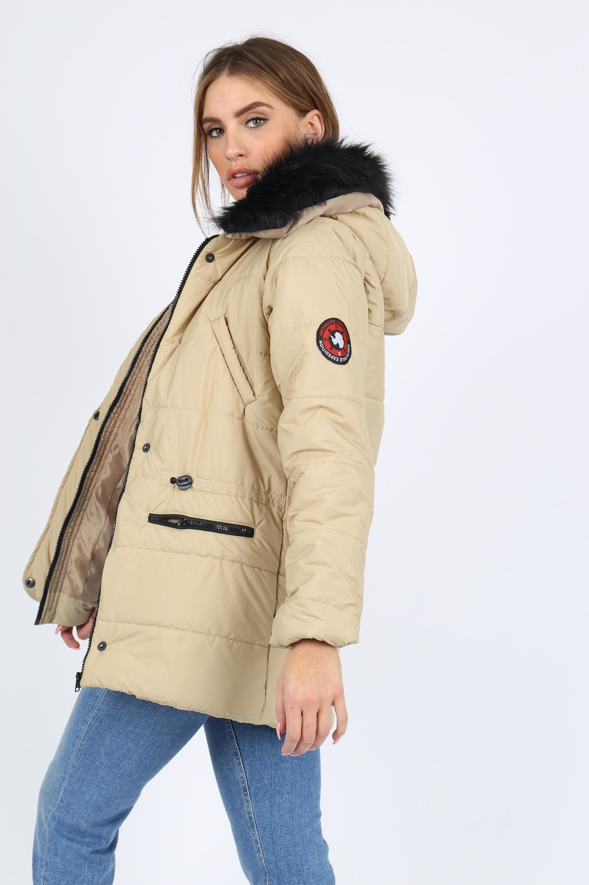 Stone Puffer Coat With Faux  Fur Trim On Hood And Badges