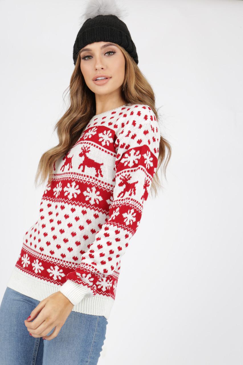 White/Red Reindeer's & Snowflake Christmas Jumper