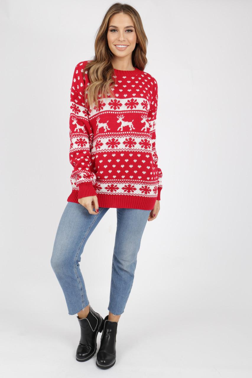 Red Reindeer's & Snowflake Christmas Jumper