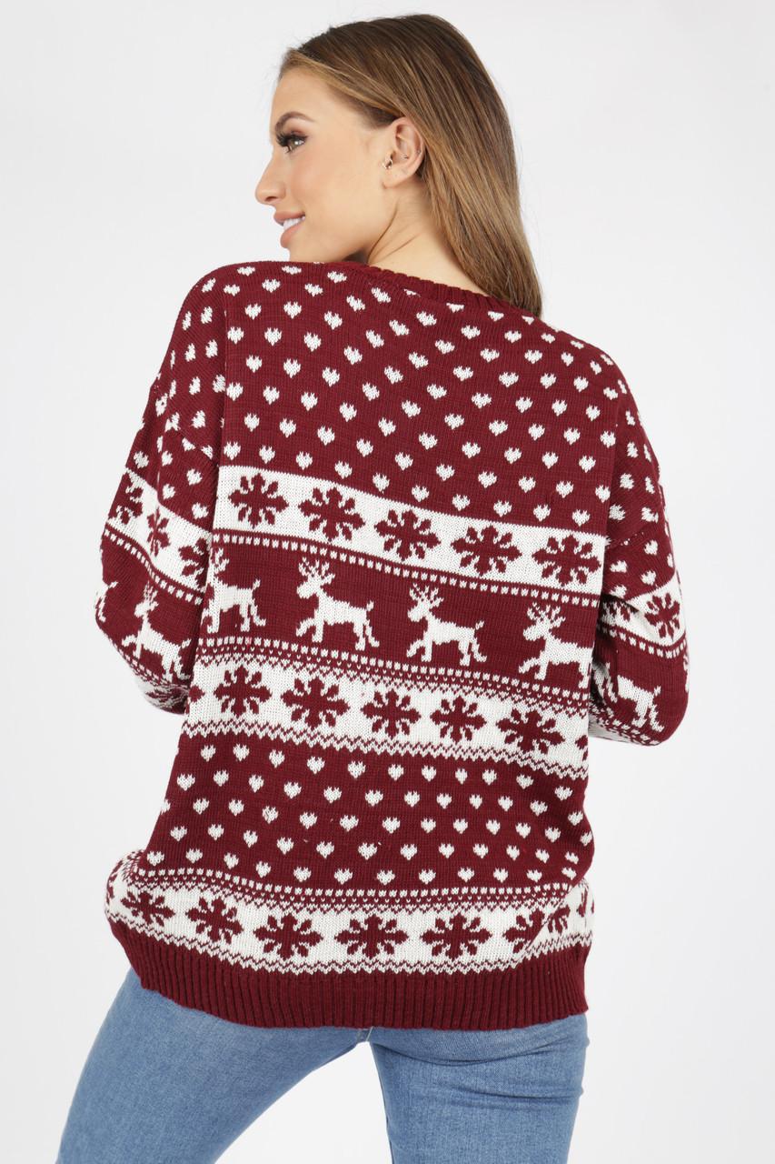 Wine Reindeer's & Snowflake Christmas Jumper