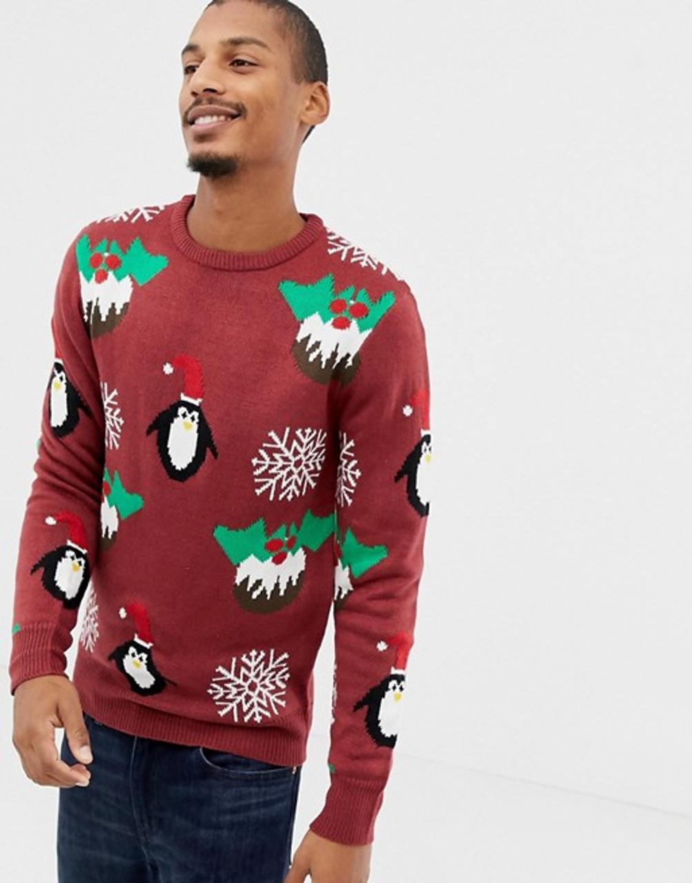 Burgundy Christmas Pudding Jumper