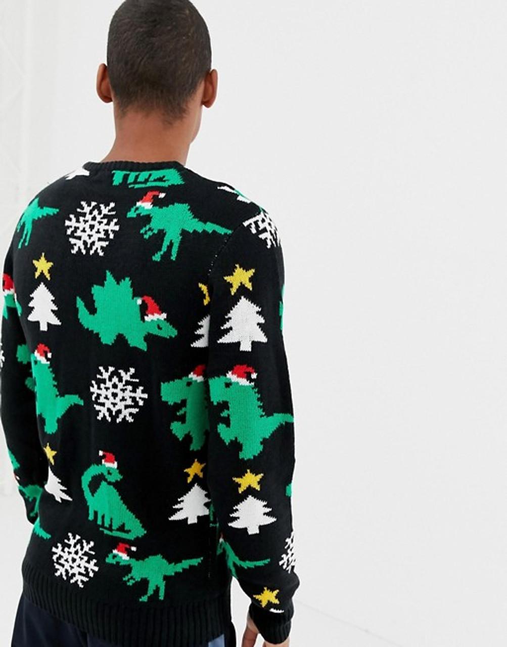 Black Christmas Dinosaur Jumper