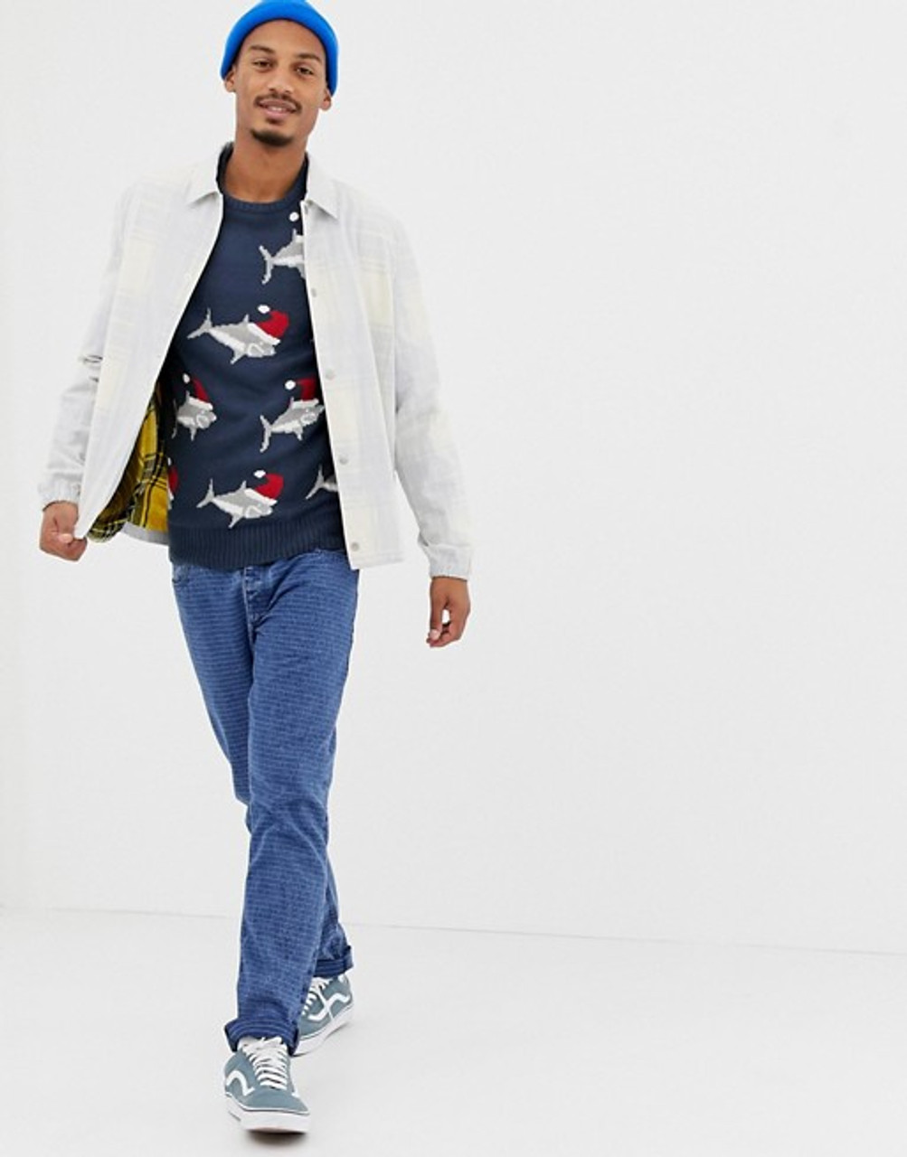 Navy Christmas Shark Jumper