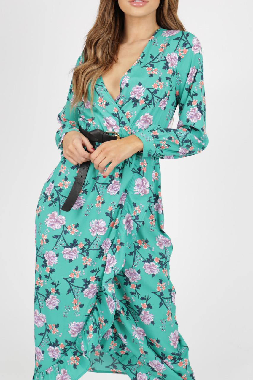 Green Floral Wrap Frill Midi Dress