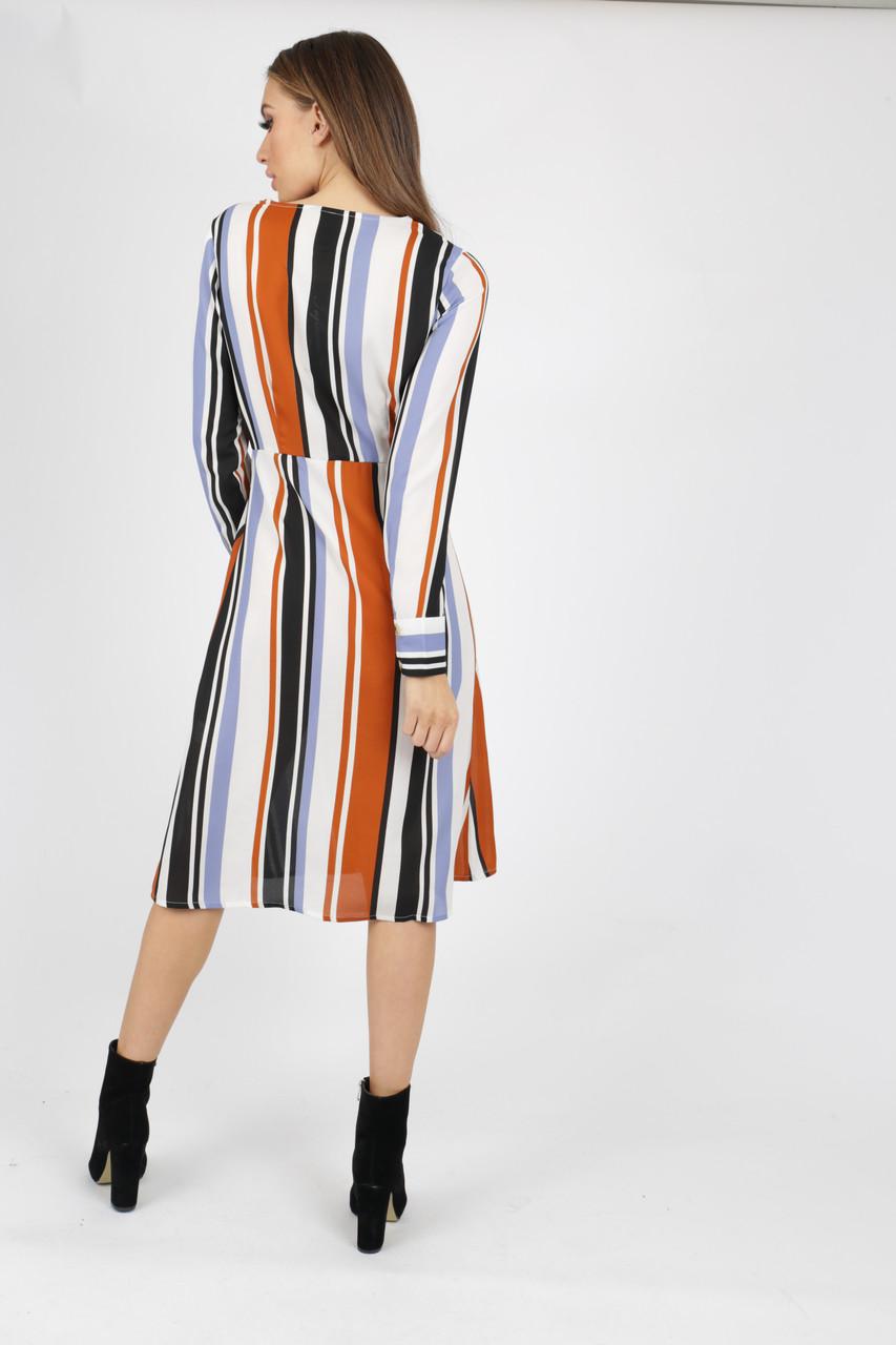 Stripe Button Through Midi Dress