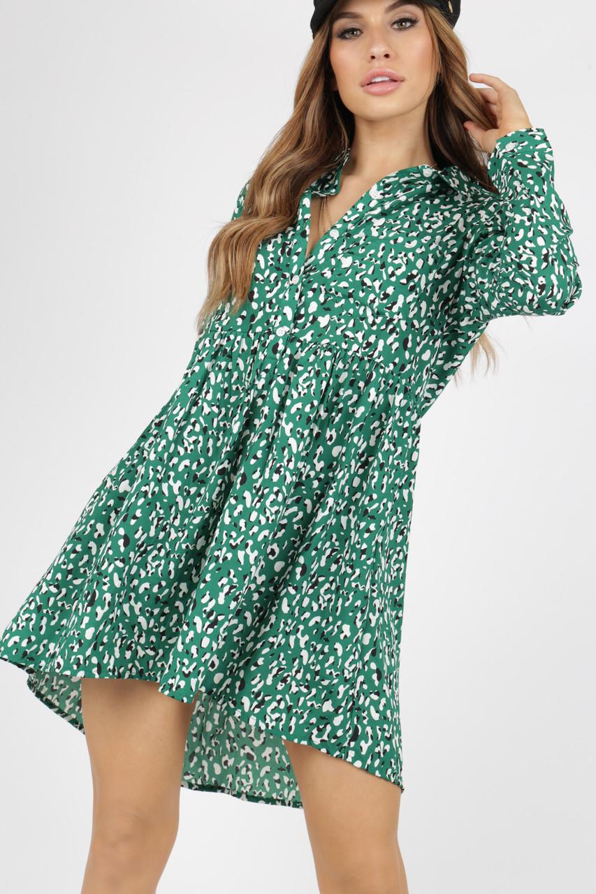 Green Leopard Animal Print Shirt Dress