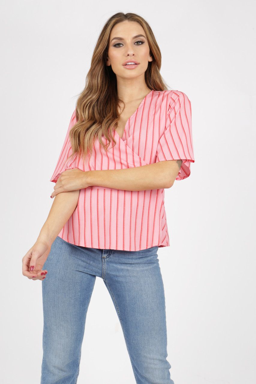 Pink and Red Stripe Wrap Top With Mock Horn Buttons
