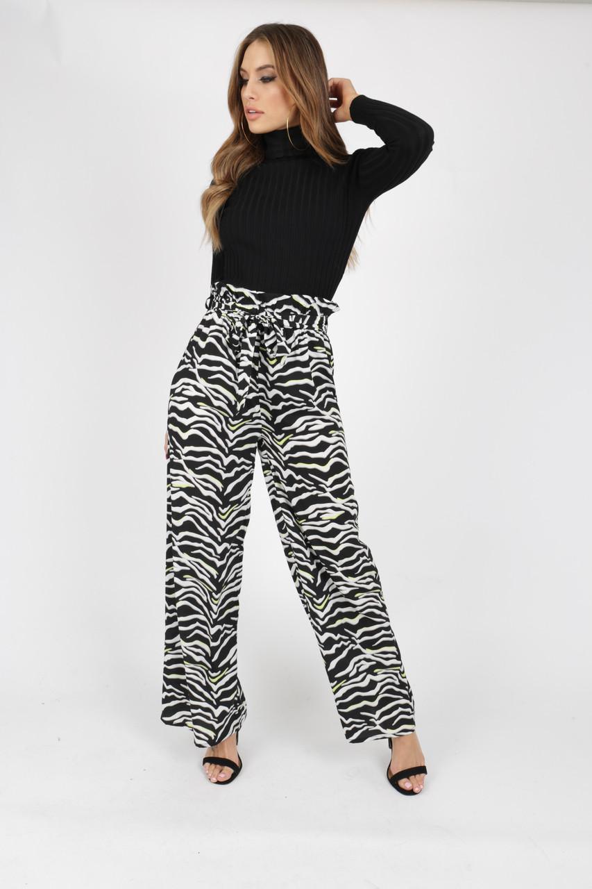 Zebra Print Wide Leg Paperbag Trouser with Neon Pop