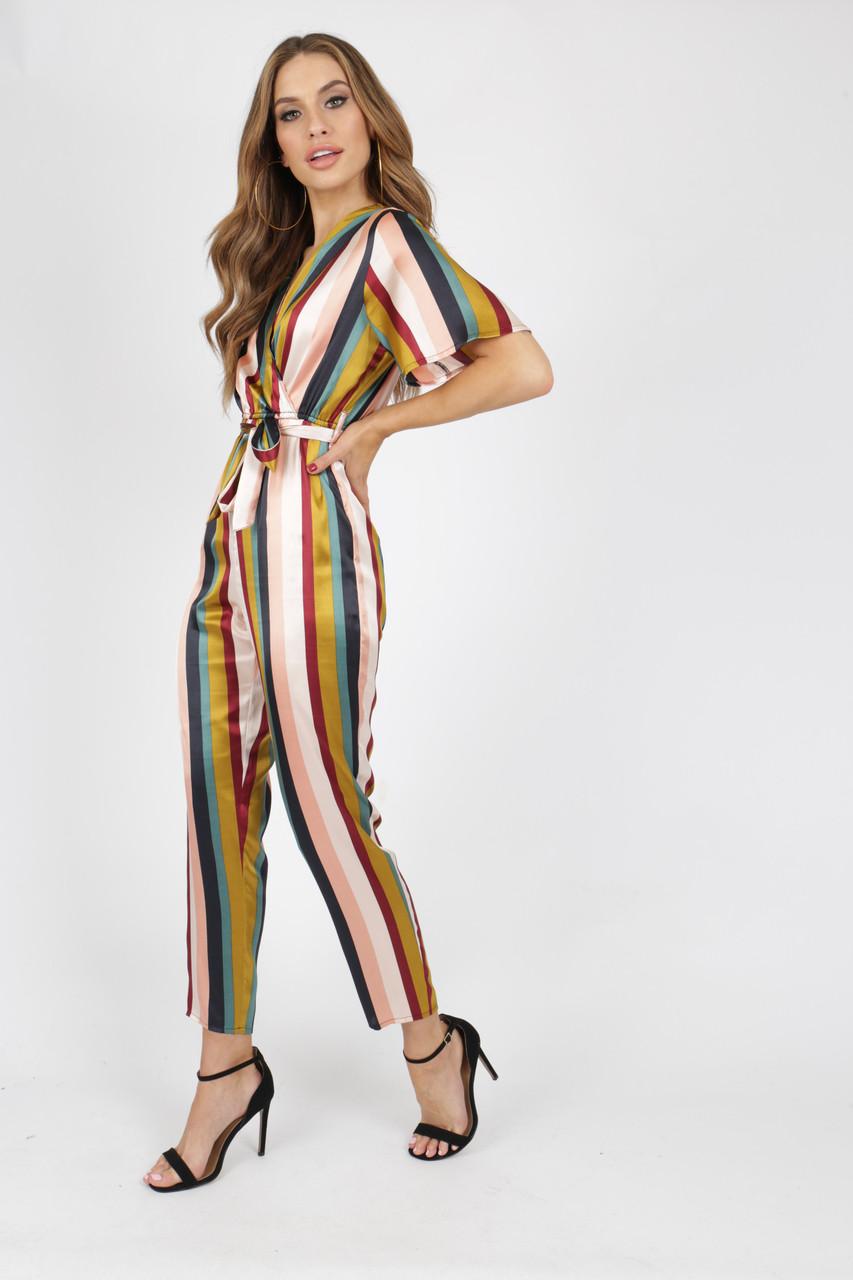 Satin Stripe Jumpsuit With Lapel Collar
