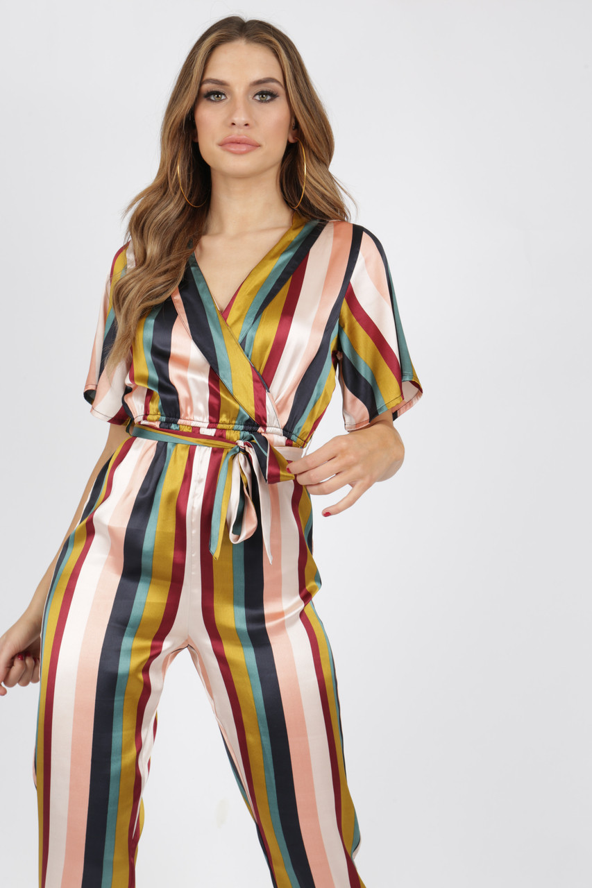 Satin Stripe Jumpsuit With Lapel Collar