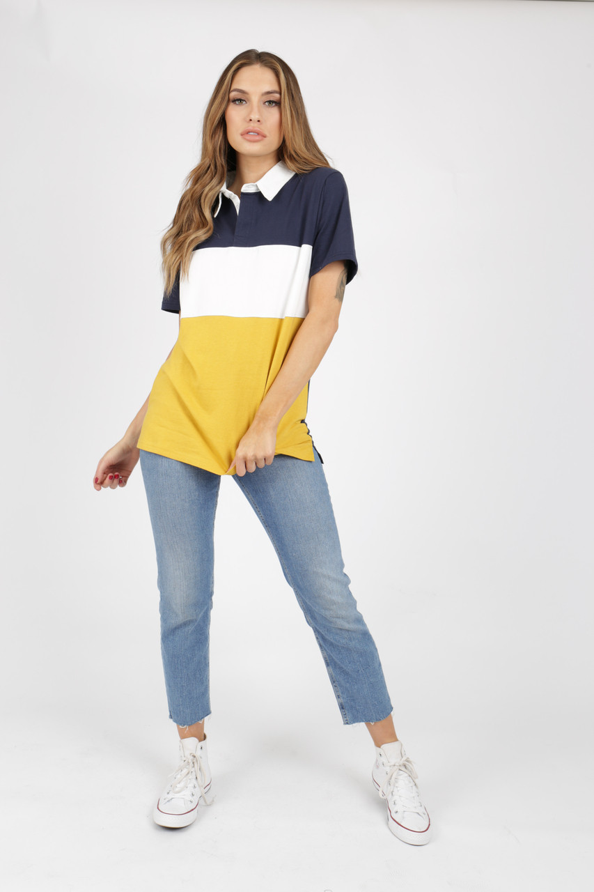 Colour Block Jersey Oversized Rugby Top Yellow