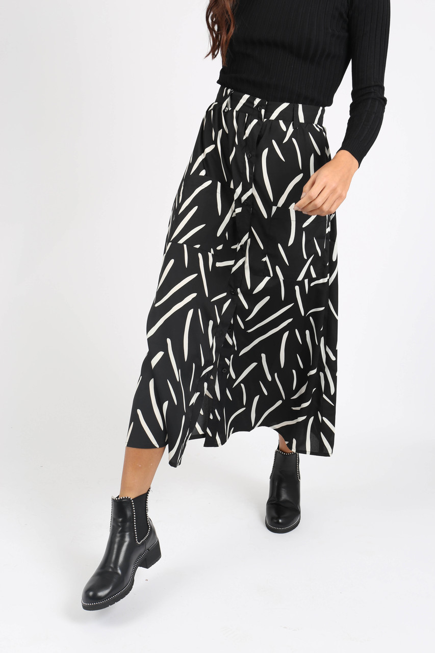 Mono Abstract Print Midi Skirt