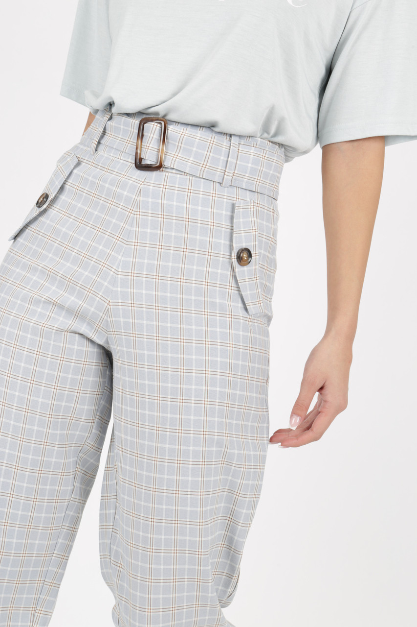 Grey Pastel Check Trouser with Mockhorn Buckle Detail